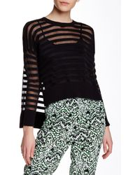 French Connection - Mesh Striped Sweater - Lyst