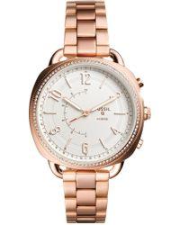 Fossil - Women's Accomplice Rose Gold-tone Stainless Steel Bracelet Hybrid Smart Watch 38x40mm - Lyst