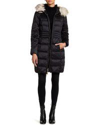 Eliza J - Faux Fur Hood Down Padded Jacket - Lyst