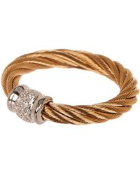 Alor - 18k Gold Pave Diamond Twisted Cable Ring- Size 6.5 - 0.05 Ctw - Lyst