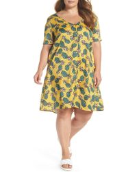Glamorous - Button Front Pineapple Print Dress (plus Size) - Lyst
