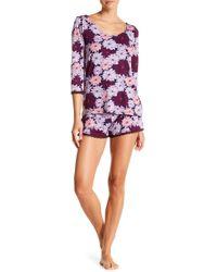 Maidenform - Lace Trim Top & Shorts Pajama Set - Lyst