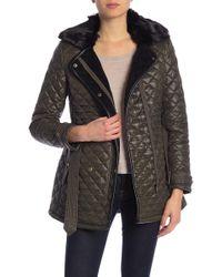 Lauren by Ralph Lauren - Faux Fur Collar & Lined Quilted Coat W/ Hoodie - Lyst