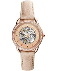 Fossil - Women's Automatic Three-hand Sand Leather Watch, 35mm - Lyst