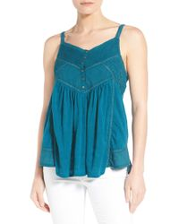 Lucky Brand - Lace Trim V-neck Jacquard Camisole - Lyst