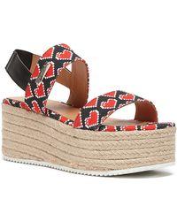 Love Moschino - Heart Knit Slingback Platform Sandal - Lyst