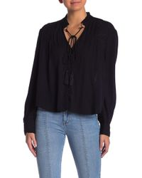 Kensie - Grace Crepe Embroidered Blouse - Lyst