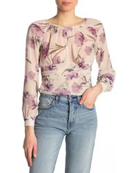 Lily White - Floral Long Sleeve Smocked Blouse - Lyst