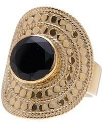 Anna Beck - 18k Gold Plated Black Onyx Large Cocktail Ring - Lyst