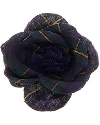 Hook + Albert - Plaid Poplin Lapel Flower - Lyst