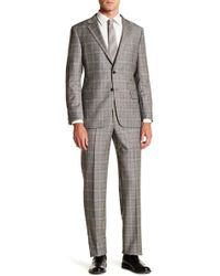 Hickey Freeman - Grey Plaid Two Button Notch Lapel Wool & Cashmere Suit - Lyst