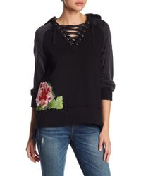 True Religion - Floral Embroidered Silk Sleeve Lace-up Pullover - Lyst