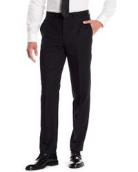 "John Varvatos | Black Woven Mid Rise Wool Trousers - 30-34"" Inseam 