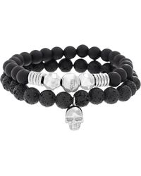 Steve Madden - Skull/disc Charms & Lava Stone Beaded Duo Stretch 2-piece Bracelet Set - Lyst