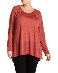 Caslon - Solid Long Sleeve Hi-lo Hem Shirt (plus Size) - Lyst
