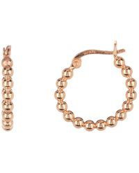 Argento Vivo - 18k Rose Gold Plated Sterling Silver Small Bead Hoop Earrings - Lyst
