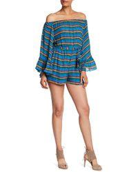 Nicole Miller | Striped Off-the-shoulder Silk Romper | Lyst