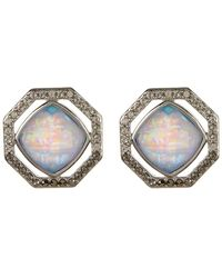 Judith Jack - Sterling Silver Opalescent Swarovski Crystal Geo Stud Earrings - Lyst