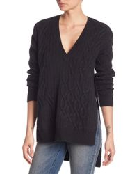 Kenneth Cole | Hi-lo Slit Cable Knit Jumper | Lyst