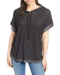 Vince Camuto - Ribbed Trim Short Sleeve Hoodie - Lyst