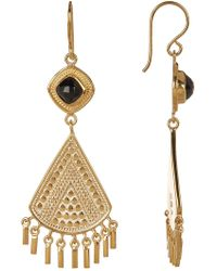 Anna Beck - 18k Gold Plated Black Onyx Stone Fringe Earrings - Lyst