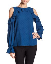 Cece by Cynthia Steffe - Ruffle Cold Shoulder Blouse - Lyst