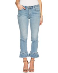 Cece by Cynthia Steffe - Ruffle Hem Ankle Jeans (sun Washed Blue) - Lyst