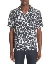 Saturdays NYC - Canty Watercolor Floral Print Camp Trim Fit Shirt - Lyst