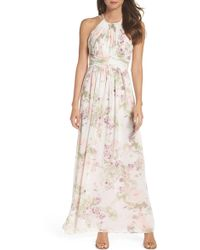 Dessy Collection - Lux Chiffon Halter Gown - Lyst