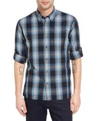 John Varvatos | Mitchell Plaid Long Sleeve Trim Fit Shirt | Lyst