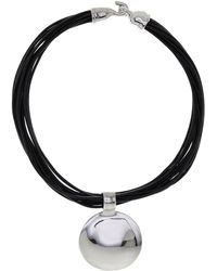 Simon Sebbag - Sterling Silver Round Pendant Multi Strand Leather Necklace - Lyst