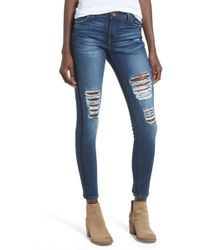 Band Of Gypsies - Lola Ripped Skinny Jeans - Lyst