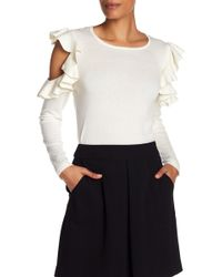 Cece by Cynthia Steffe - Ruffled Cold Shoulder Tee - Lyst