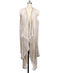 Saachi - Beige Assymetrical Drape Vest - Lyst