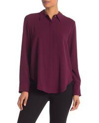 ff25c13aff62a Lyst - Theory Sunaya B Modern Contrast Stitch Silk Georgette Blouse ...