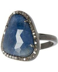 Adornia - Blue Sapphire & Diamond Rose Cut Halo Ring - Lyst