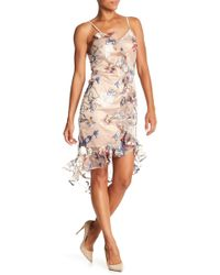 ABS Collection - V-neck Embroidered Mesh Dress - Lyst