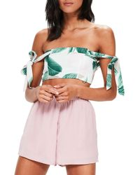 Missguided   Tropical Print Off The Shoulder Top   Lyst