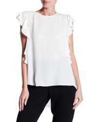 Cece by Cynthia Steffe | Sleeveless Cascading Ruffle Textured Top | Lyst