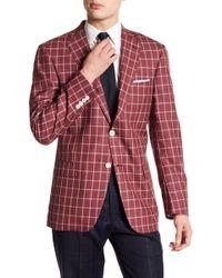 Hart Schaffner Marx - Notch Collar Plaid Print Wool Sportcoat - Lyst