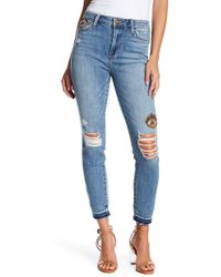 Sam Edelman - The Stiletto Beaded Eye High Rise Distressed Skinny Jeans - Lyst