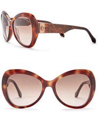 Roberto Cavalli - 56mm Acetate Round Sunglasses - Lyst