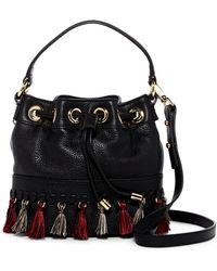 MILLY - Astor Whipstitch Leather Small Bucket Bag Crossbody - Lyst