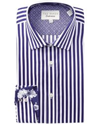 Ted Baker - Striped Trim Fit Dress Shirt - Lyst