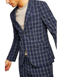 TOPMAN - Tailored Fit Check Suit Jacket - Lyst