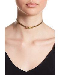 House of Harlow 1960 - Nuri Sliding Bezel Set Aventurine Pendant Choker Necklace - Lyst