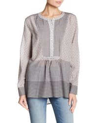 Two By Vince Camuto - Mixed Print Crew Neck Blouse - Lyst