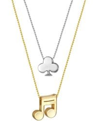 Alex Woo - 14k Gold & Sterling Silver Little Vegas Clover & Note Necklace - Set Of 2 - Lyst