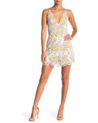 Dress the Population - Ellie Plunging V-neck Crochet Overlay Romper - Lyst