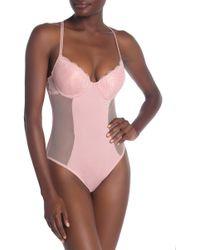 Jessica Simpson Push Up Lace Bodysuit - Pink